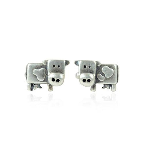 Silver Dairy Cow Cufflinks - IndependentBoutique.com
