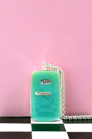 Silver & Enamel Smug Fridge Necklace by Bug | IndependentBoutique.com
