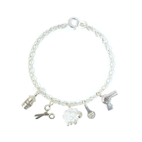 Silver Hairdresser Charm Bracelet - IndependentBoutique.com