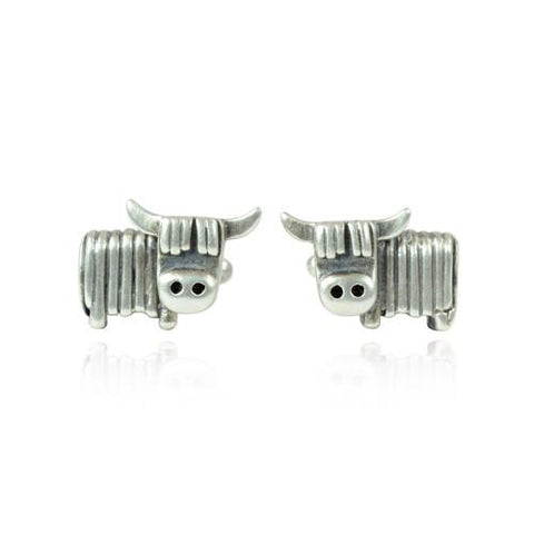 Silver Highland Cow Face Cufflinks by Bug | IndependentBoutique.com