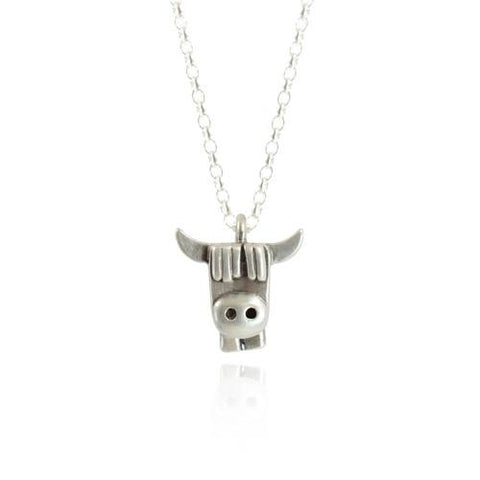 Silver Highland Cow Face Necklace - IndependentBoutique.com