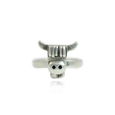 Silver Highland Cow Face Ring by Bug | IndependentBoutique.com