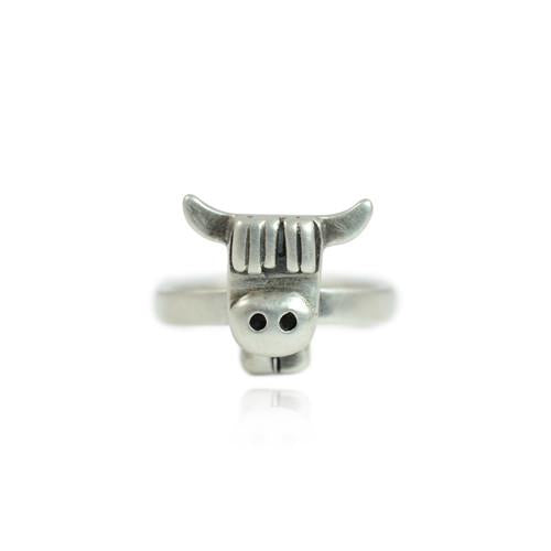 Silver Highland Cow Face Ring - IndependentBoutique.com