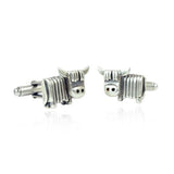 Silver Highland Cow Face Cufflinks - IndependentBoutique.com