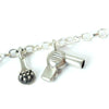 Solid Silver Hairdresser hairdryer Charm Bracelet by Bug | IndependentBoutique.com