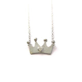 Silver Queen of Hearts Crown Necklace - IndependentBoutique.com