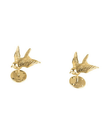 Swallow collar pins gold