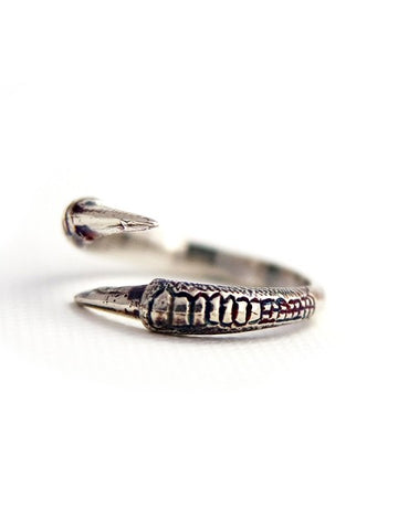 Talon Two Claw Ring - Antique Silver