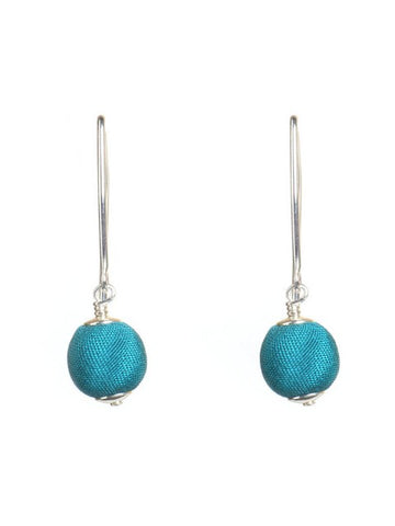 Teal Green Silk Silver Marquise Earrings