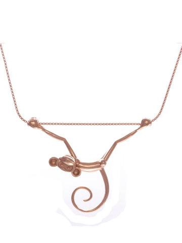 Toy Monkey Necklace - Rose Gold Vermeil - IndependentBoutique.com
