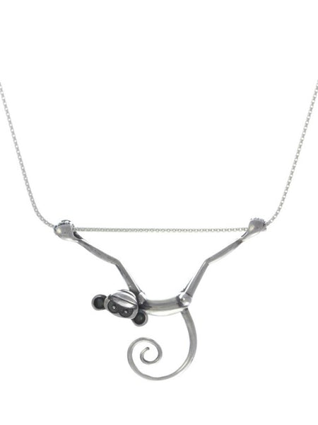 Silver Toy Monkey Necklace - IndependentBoutique.com