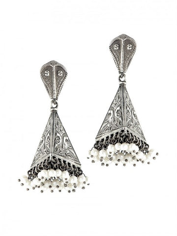 Tribal silver jhumkis - IndependentBoutique.com