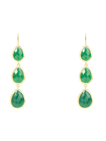 Triple Drop Earring Gold - Green Onyx