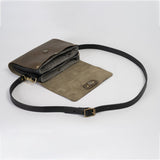 Olive leather shoulder bag  with removeable strap that can become a clutch open view