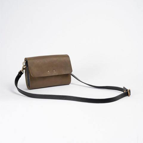 Olive leather shoulder bag  with removeable strap that can become a clutch bag