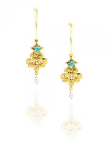 Turquoise and pearls gold plated hoop earrings - IndependentBoutique.com