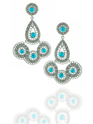 Turquoise silver earrings - IndependentBoutique.com