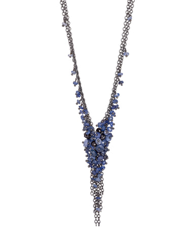 Sapphire and Oxidised Silver 'V' Tassel Necklace from Kate Wood