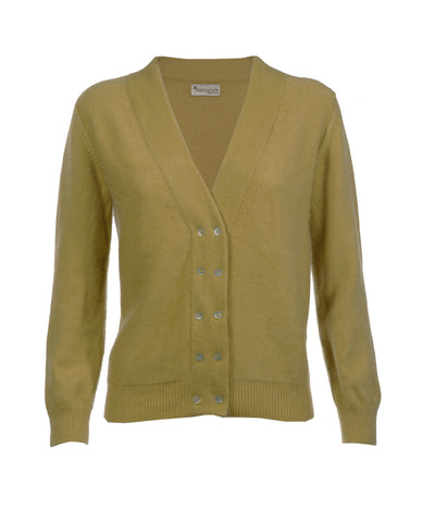 Mustard Cashmere Double Breasted Cardi