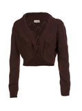 Chunky Cashmere Chocolate Cropped Lacehole Shrug