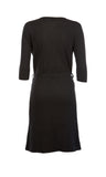 Black Cashmere V Neck Tie Dress