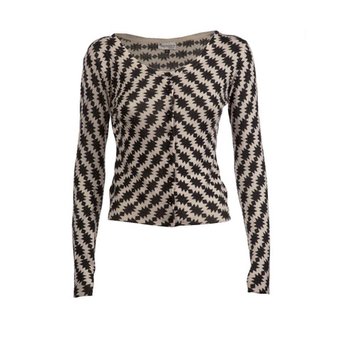 Black & Grey Cashmere Printed Cardi - IndependentBoutique.com