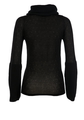 Sheer Cashmere Chunky Funnel Neck Black Jumper