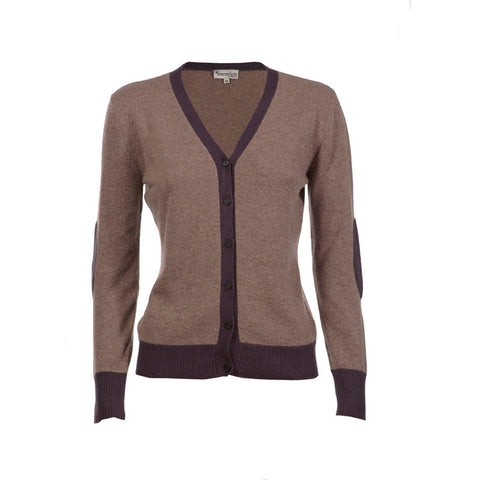 brown and fawn marled retro styling elbow patch cardigan in 100% cashmere