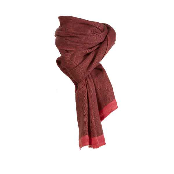 Cashmere Woven Herringbone Coral Travel Wrap - IndependentBoutique.com