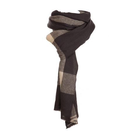 Cashmere Grey Check Travel Wrap