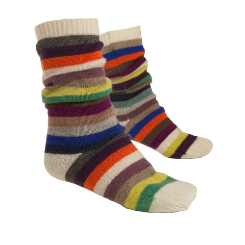 stripy cashmere bed socks in multicolour