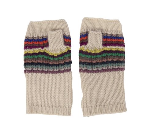 Chunky Cashmere Striped Textured Fingerless Gloves