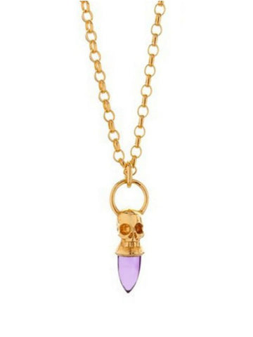 Voodoo Skull Necklace - Gold Vermeil & Amethyst - IndependentBoutique.com