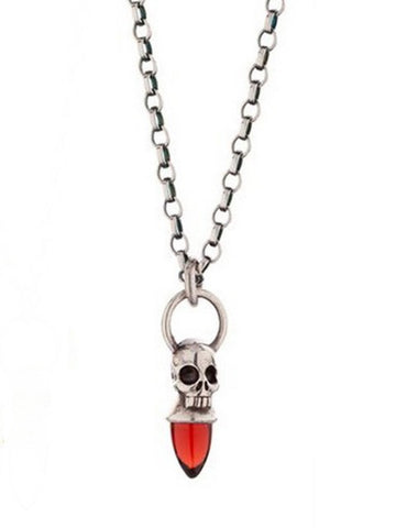 Voodoo Skull Necklace - Oxydised Silver & Garnet