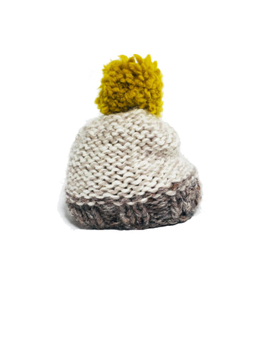 Mustard & Ecru Woolly Knitted Beanie - IndependentBoutique.com