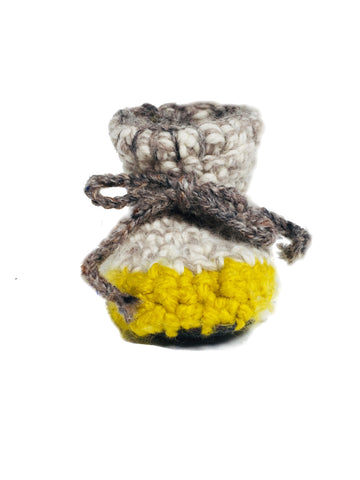 Mustard & Ecru Woolly Sheepskin Crochet Booties - IndependentBoutique.com