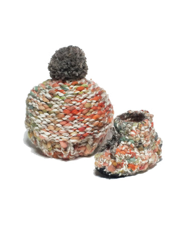 Rainbow Woolly Knitted Beanie & Crochet Sheepskin Booties Set - IndependentBoutique.com
