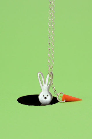 solid silver pendant rabbit necklace and carrot by Bug  | IndependentBoutique.com