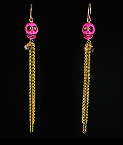 Pink Skull Dangly earrings