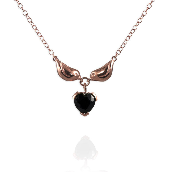 Rose Gold Sparrow Heart Necklace - IndependentBoutique.com