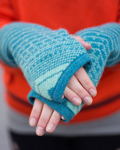 Woolly Blue Fairisle Handwarmers Made in Scotland