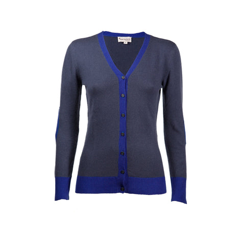 Blueberry & Navy Cashmere Elbow Patch Cardi
