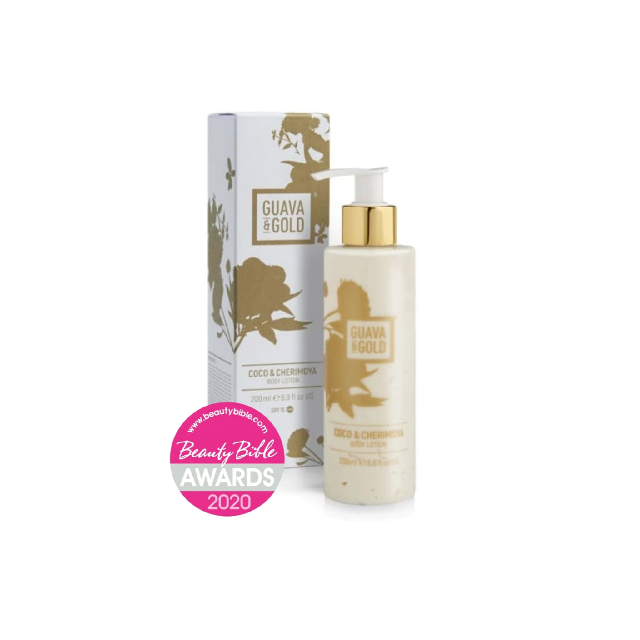 white and gold printed bottle and box of body lotion by Guava and Gold