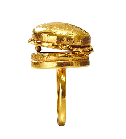 Gold Burger Locket Ring