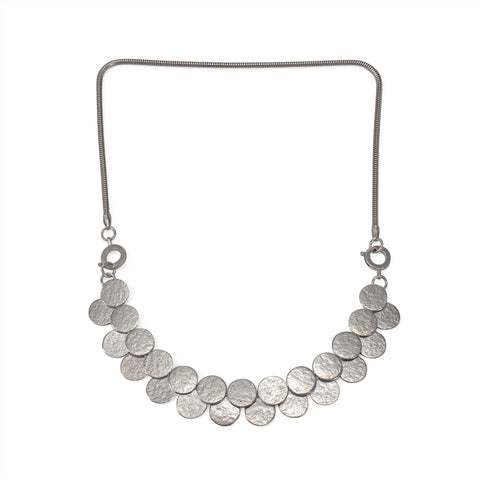 Silver Paillette Double Row Interchangeable Necklace & Bracelet - IndependentBoutique.com