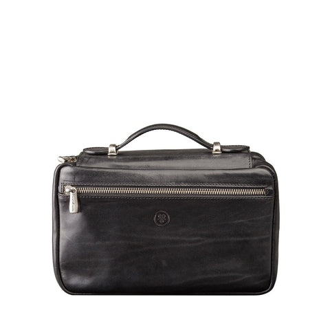 black leather toiletry bag
