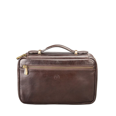 Chocolate Cascina Italian leather toiletry bag