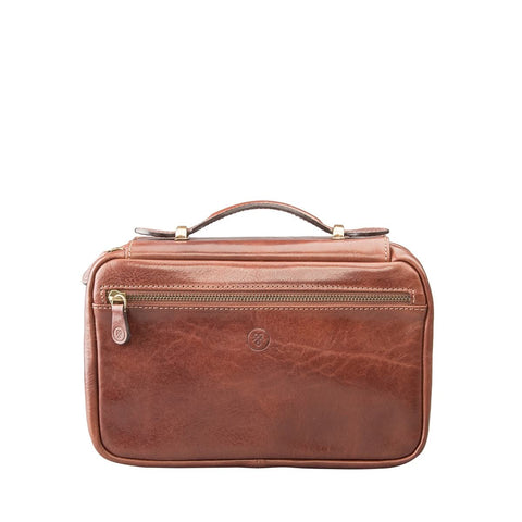 Tan Cascina Italian leather toiletry bag