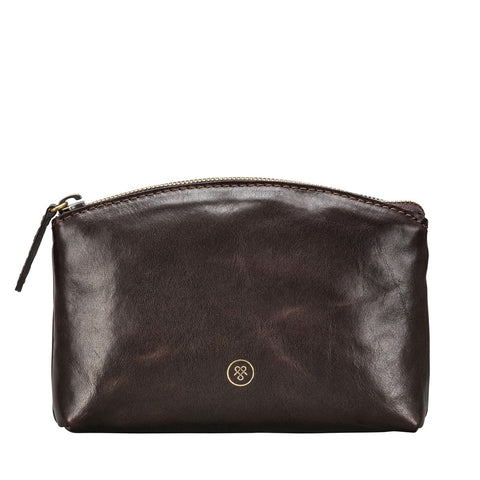 Chocolate Chia Leather makeup bag - IndependentBoutique.com