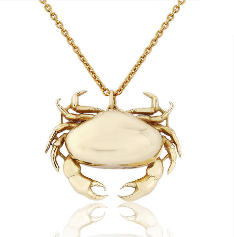 Gold Crab Locket Pendant Necklace - IndependentBoutique.com